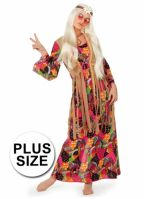 Plus size lange Flower power jurk