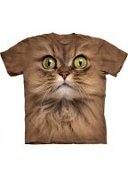 All-over print t-shirt bruine kat